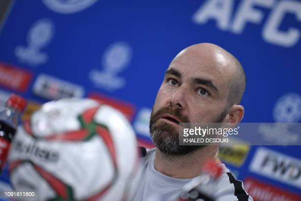 Qatar's head coach Felix Sanchez attends the pre-match press conference ahead of the AFC Asian Cup final match against Japan at the Zayed Sports City...