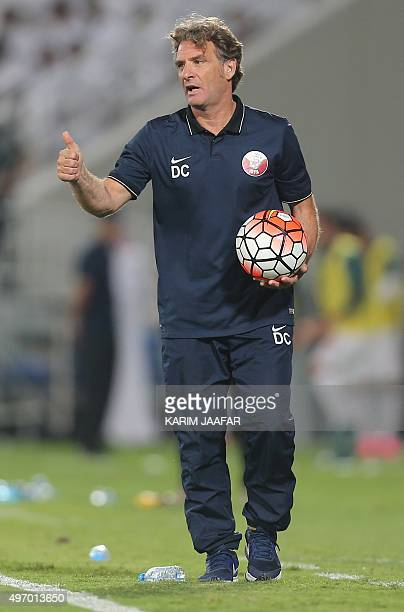 Qatar's manager Jose Daniel Carreno looks on during the friendly football match against Turkey in the capital Doha on November 13 2015 OUT==