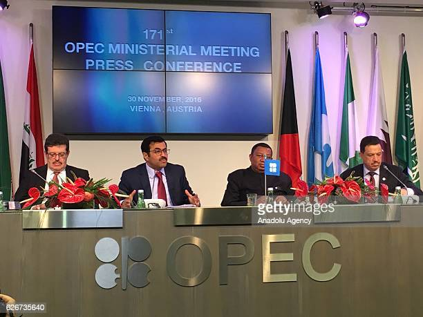 Qatar's Minister of Energy and the OPEC Conference President Mohammed Bin Saleh AlSada and Secretary General of OPEC Mohammad Sanusi Barkindo attend...