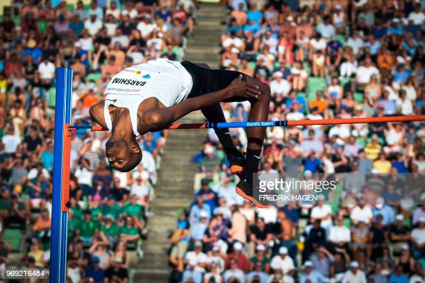 TOPSHOT Qatar's Mutaz Essa Barshim competes during the Men's High Jump at the IAAF Diamond League 2018 Bislett Games on June 7 2018 at Bislett...