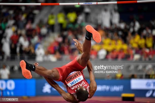 Qatar's Mutaz Essa Barshim competes in the Men's High Jump heats at the 2019 IAAF Athletics World Championships at the Khalifa International stadium...