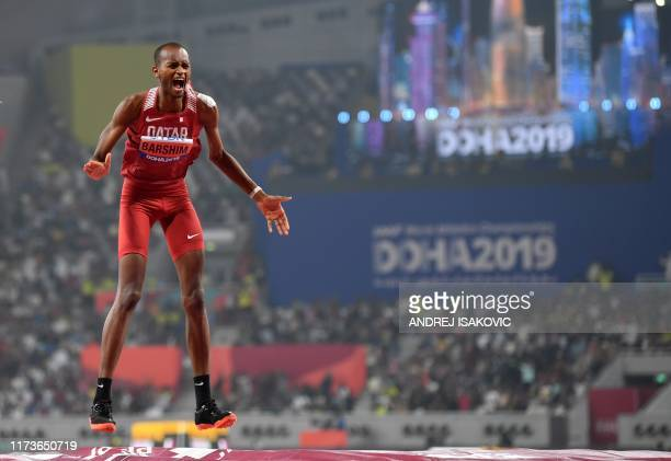 Qatar's Mutaz Essa Barshim reacts as he competes in the Men's High Jump final at the 2019 IAAF Athletics World Championships at the Khalifa...