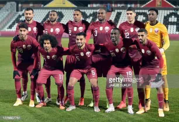 Qatar's national football team, Qatar's midfielder Mohammed Waad Abdulwahab, Qatar's forward Akram Afif, Qatar's defender Tarek Salman, Qatar's...