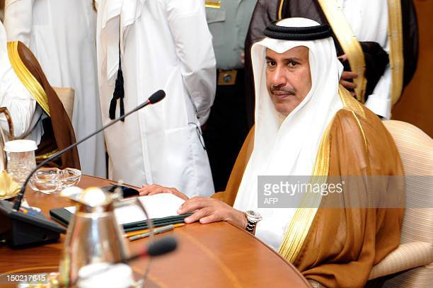 Qatar's Prime Minister Sheikh Hamad bin Jassem bin Jabr alThani attends a ministerial meeting of the Gulf Cooperation Council member states in the...