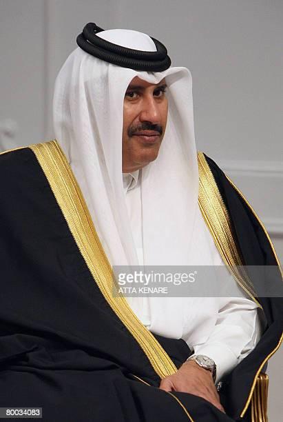 Qatar's Prime Minister Sheikh Hamad bin Jassem bin Jabr alThani meets with Iranian President Mahmoud Ahmadinejad in Tehran on February 27 2008 Thani...