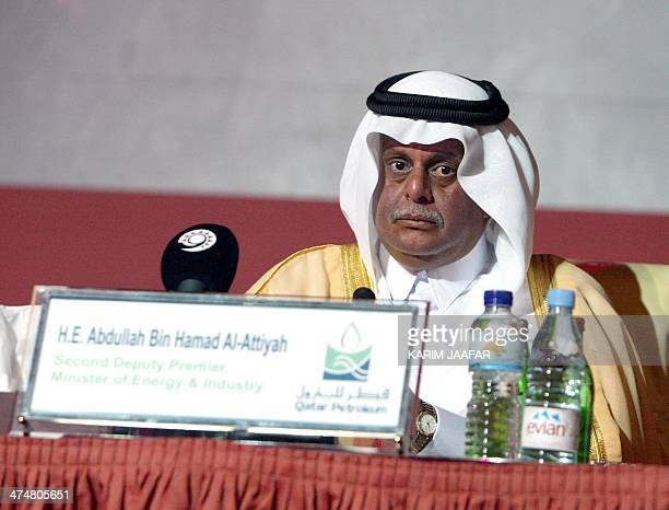 Qatar's Sheikh Abdullah Bin Hamad AlAttiyah Minister of Energy and Industry listens on during the opening of the 14th International Conference and...
