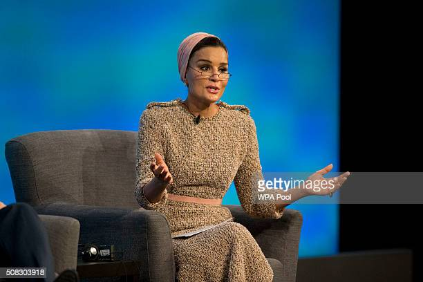 Qatar's Sheikha Moza bint Nasser speaks during the first focus event on education at the 'Supporting Syria and the Region' conference at the Queen...