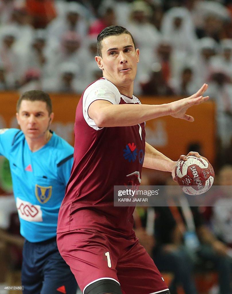 Qatar's Zarko Markovic attempt...