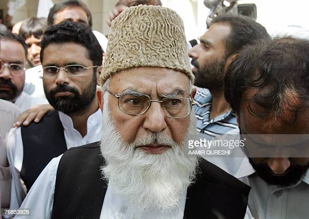 Qazi Hussain Ahmed the chief of Pakistan's Islamist fundamentalist party JamaateIslami leaves the Supreme Court in Islamabad 19 September 2007 after...