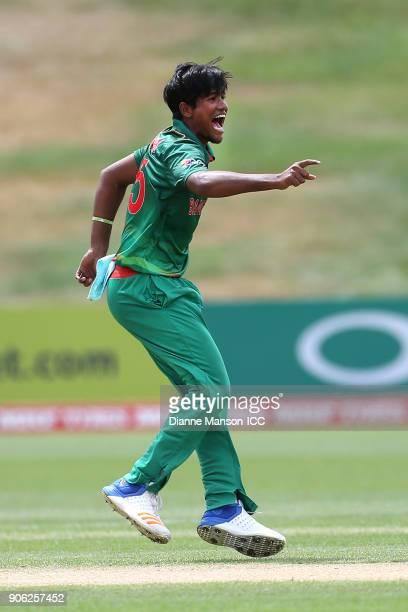 Qazi Onik Islam of Bangladesh celebrates the dismissal of Tom Banton of England during the ICC U19 Cricket World Cup match between Bangladesh and...