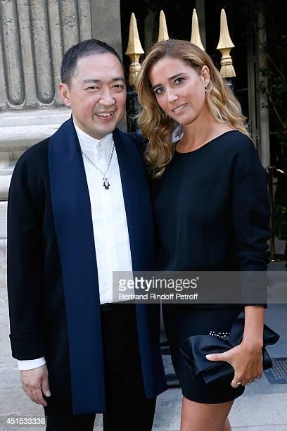 Qeelin jeweler Dennis Chan and Vahina Giocante attend the 'Qeelin' high Jewellery Exhibition opening Cocktail 'Mogoaku in Paris' at Jardin du Palais...