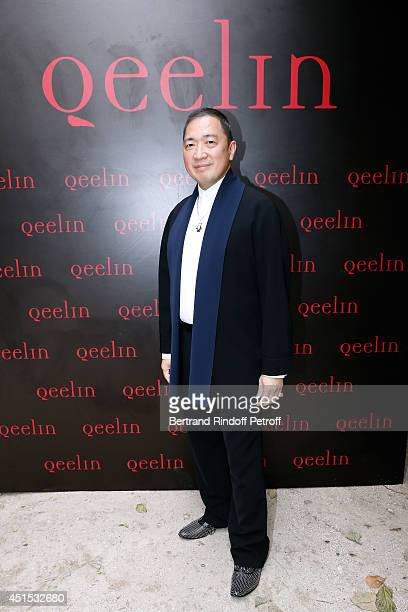 Qeelin jeweler Dennis Chan attends the 'Qeelin' high Jewellery Exhibition opening Cocktail 'Mogoaku in Paris' at Jardin du Palais Royal on June 30...