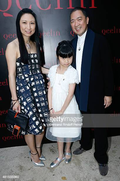 Qeelin jeweler Dennis Chan wife May Chan and their daughter Pui Pui Chan attend the 'Qeelin' high Jewellery Exhibition opening Cocktail 'Mogoaku in...