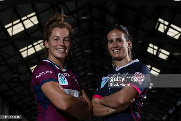 Qeensland's Lori Cramer and Melbourne Rebels Meretiana Robinson pose during the Super Rugby Super W Season Launch at Carriageworks on February 05...