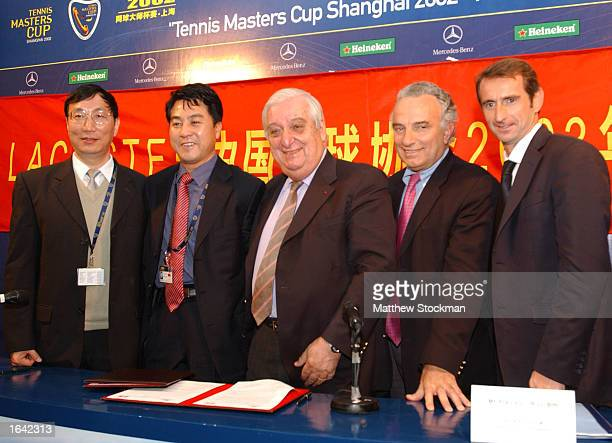 2b2704d39a736 Qhi Weichang General Secretary of the CTA Xiaoning Zhang La Chemise Lacoste  President Bernard Lacoste ITF
