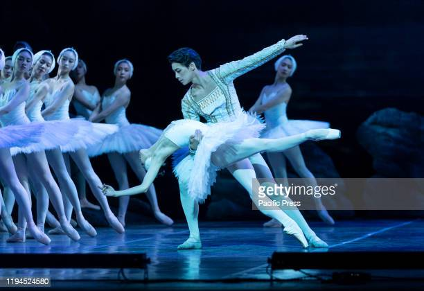 Qi Bingxue as Odette Wu Husheng as Siegfried and Corps de Ballet perform Grand Swan Lake by Shanghai Ballet during press preview at Lincoln Center...