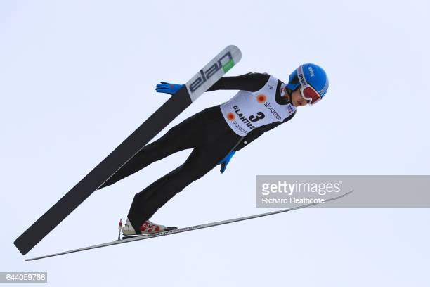 Qi Liu of China makes a practice jump prior to the Women's Ski Jumping HS100 qualification rounds during the FIS Nordic World Ski Championships on...