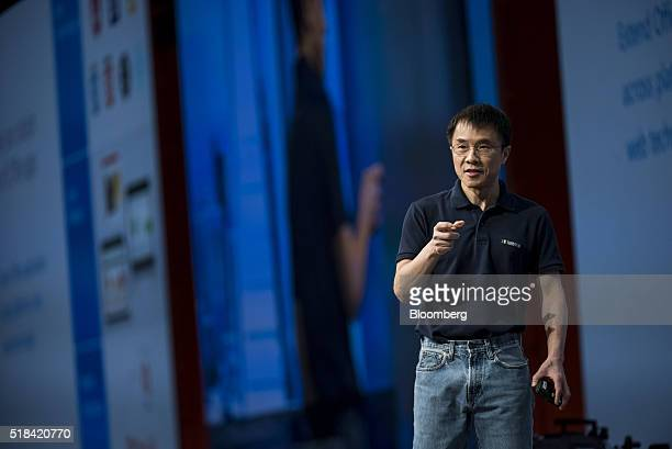 Qi Lu executive vice president of the applications and services group at Microsoft Corp speaks during a keynote session at the Microsoft Developers...