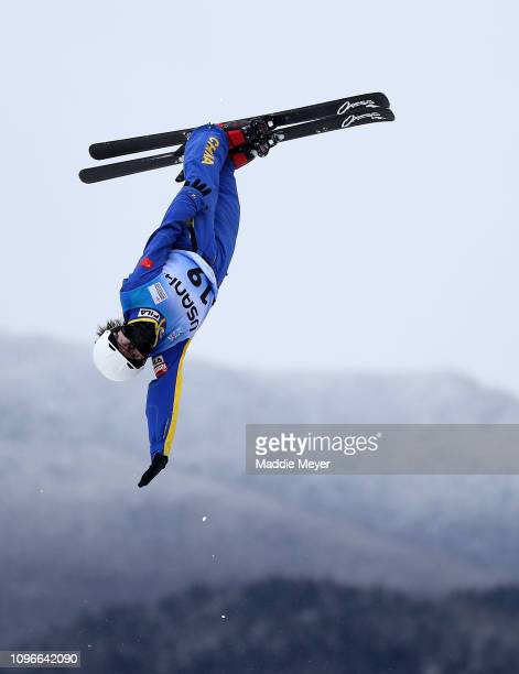 Qi Shao of China competes in Women's Aerials Qualifications during the FIS Freestyle Ski World Cup 2019 at the Lake Placid Ski Jumping Complex on...