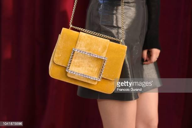 Qi Wei bag detail attends the Roger Vivier Presentation Spring/Summer 2019 during Paris Fashion Week on September 27 2018 in Paris France