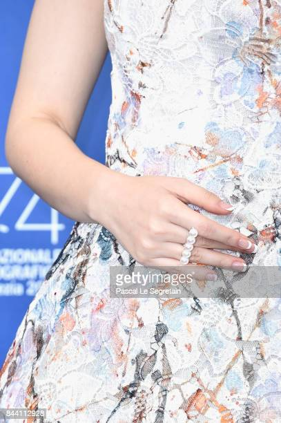 Qi Wei ring detail attends the 'Zhuibu ' photocall during the 74th Venice Film Festival at Sala Casino on September 8 2017 in Venice Italy
