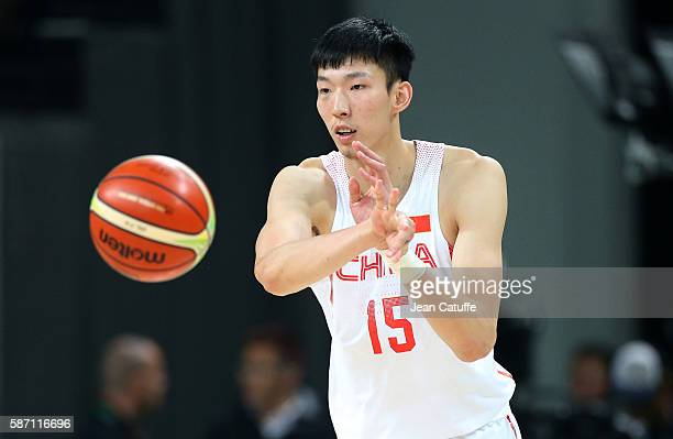 Qi Zhou of China in action during the group phase basketball match between USA and China on day 1 of the Rio 2016 Olympic Games at Carioca Arena 1 on...