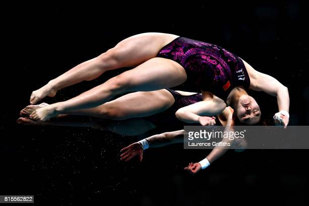 Qian Ren of China and Yajie Si of China compete during the Women's Diving 10M Synchro Platform final on day three of the Budapest 2017 FINA World...