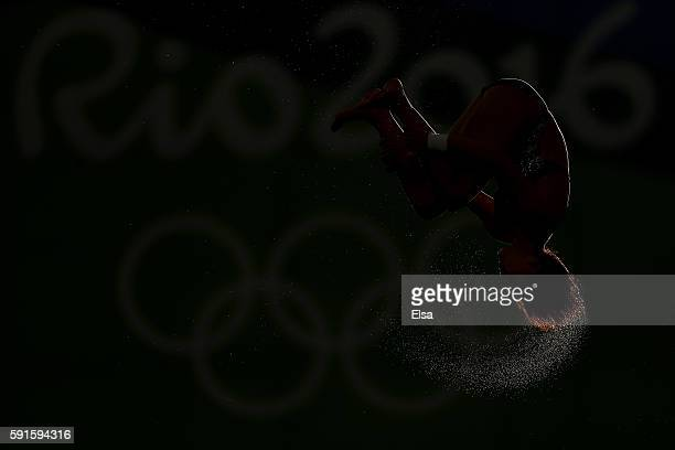 Qian Ren of China competes during the Women's 10m Platform Diving preliminaries on Day 12 of the Rio 2016 Olympic Games at Maria Lenk Aquatics Centre...