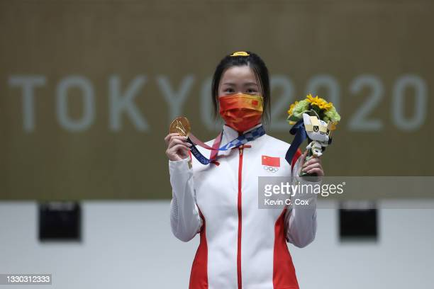 Qian Yang of Team China wins the gold medal during the 10m Air Rifle Women's event on day one of the Tokyo 2020 Olympic Games at Asaka Shooting Range...