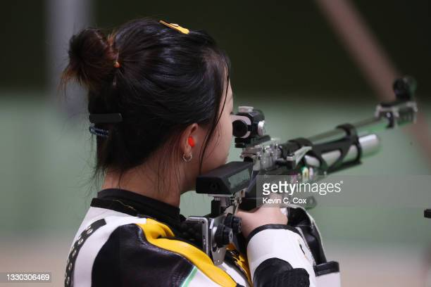 Qian Yang of Team China wins the gold medal in the 10m Air Rifle Women's event on day one of the Tokyo 2020 Olympic Games at Asaka Shooting Range on...