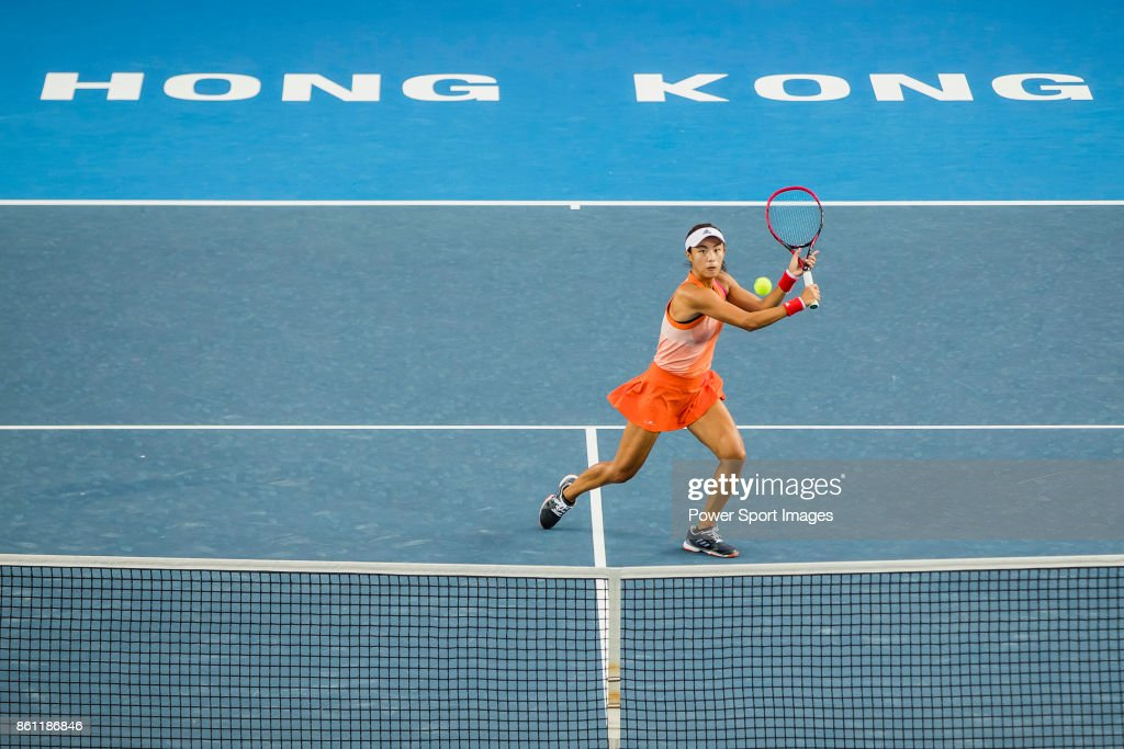 Qiang Wang of China hits a return during her womenâs singles semi-final match of the Prudential Hong Kong Tennis Open 2017 between Qiang Wang of China and Anastasia Pavlyuchenkova of Russia at Victoria Park on October 14, 2017 in Hong Kong, Hong Kong.