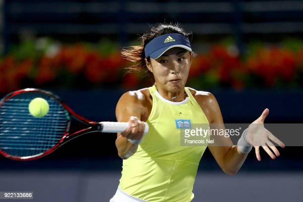Qiang Wang of China in action against Elina Svitolina of Ukraine during day three of the WTA Dubai Duty Free Tennis Championship at the Dubai Tennis...