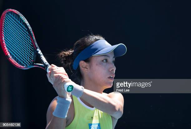 Qiang Wang of China in action in her first round match against Madison Keys of the United States on day two of the 2018 Australian Open at Melbourne...