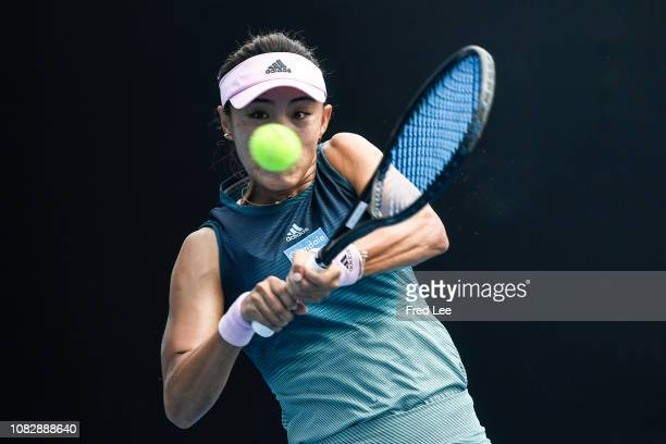 Qiang Wang of China plays a backhand in her first round match against Fiona Ferro of France during day two of the 2019 Australian Open at Melbourne...