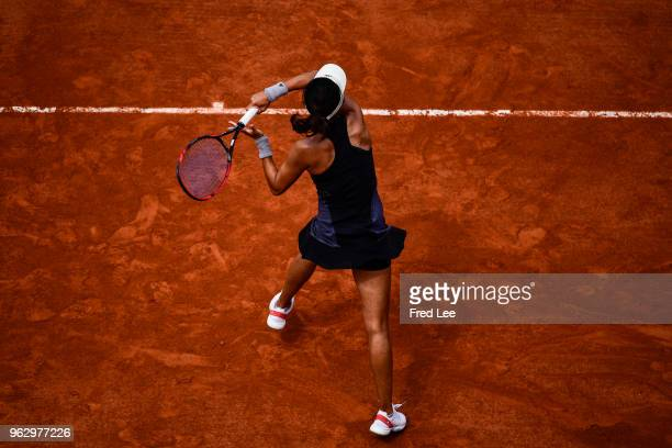 Qiang Wang of China plays a forehand during her ladies singles first round match against Venus Williams of USA during day one of the 2018 French Open...