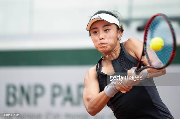 Qiang Wang of China plays a forehand during the lades singles third round match against Yulia Putintseva of Kazhakstan during day six of the 2018...
