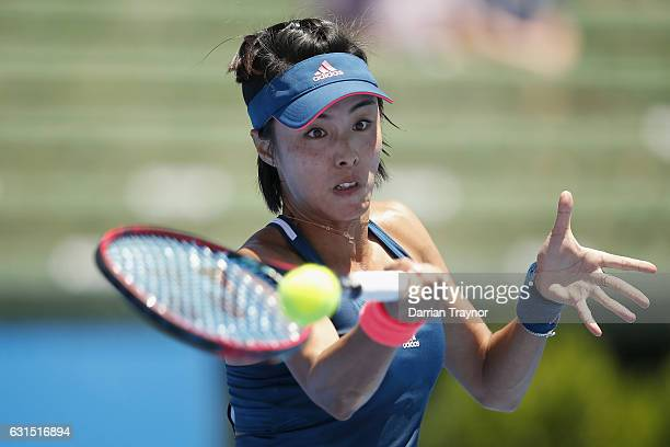 Qiang Wang of China plays a forehand shot in her match against Destanee Aiava of Australia during day three of the 2017 Priceline Pharmacy Classic at...