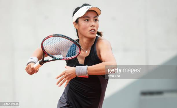 Qiang Wang of China reacts during the lades singles third round match against Yulia Putintseva of Kazhakstan during day six of the 2018 French Open...