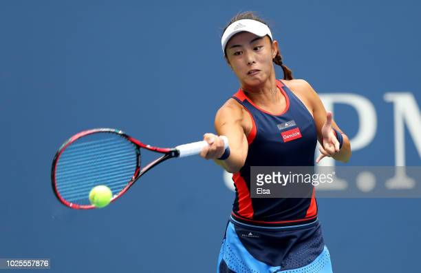 Qiang Wang of China returns the ball during her women's singles third round match against Elina Svitolina of Ukraine on Day Five of the 2018 US Open...