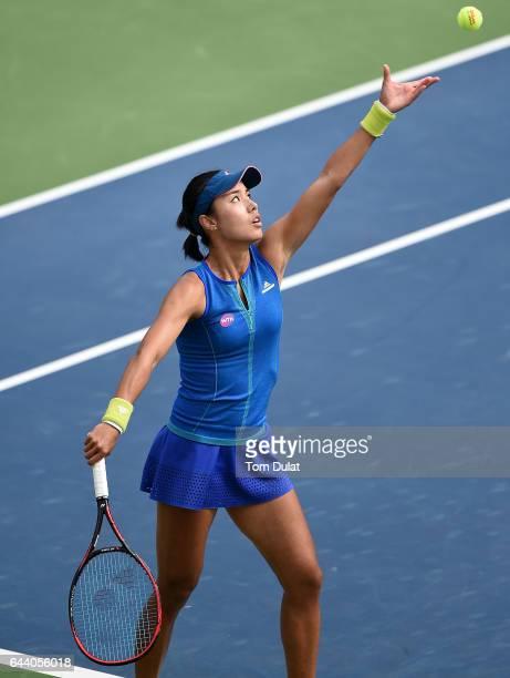 Qiang Wang of China serves during her quarter final match against Anastasija Sevastova of Latvia on day five of the WTA Dubai Duty Free Tennis...