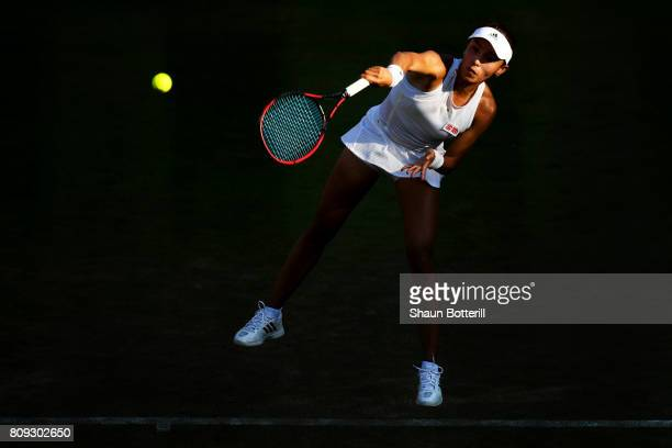 Qiang Wang of China serves during the Ladies Singles second round match against Venus Williams of The United States on day three of the Wimbledon...