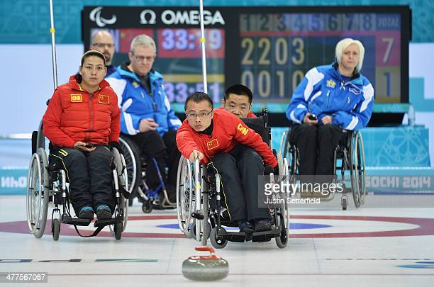 Qiang Zhang of China in action during the wheelchair curling round robin session 5 match between Sweden and China at the Ice Cube Curling Center on...