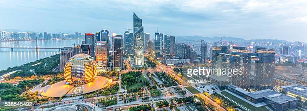 qianjiang new town (new cbd district) at dusk,hangzhou,china - hangzhou stock pictures, royalty-free photos & images