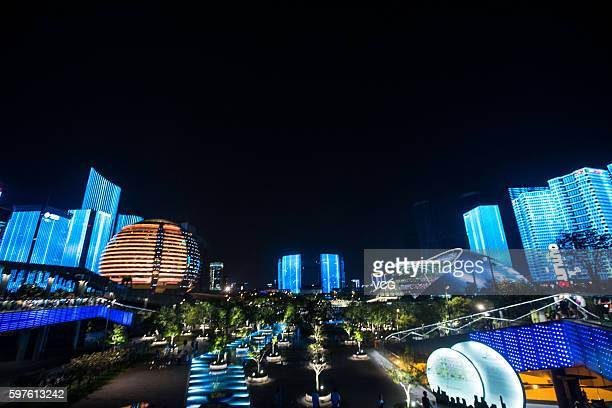 Qianjiang New Town performs light show to welcome the upcoming G20 Hangzhou Summit on August 28 2016 in Hangzhou Zhejiang Province of China Located...