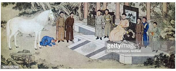 Qianlong takes a horse as Tribute from Tartar envoys The Qianlong Emperor from 1735 to 1796 Painted by Giuseppe Castiglione Italian Jesuit lay priest...