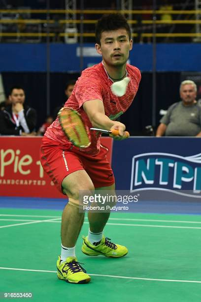 Qiao Bin of China competes against Joo Ven Soong of Malaysia during Men's Team Semifinal match between China and Malaysia in the EPlus Badminton Asia...