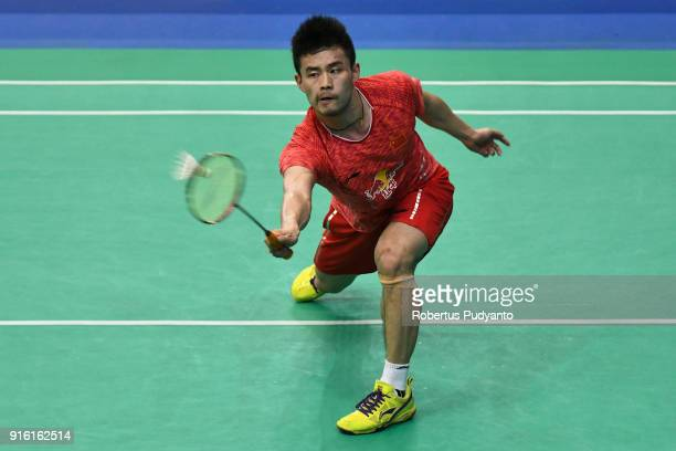 Qiao Bin of China competes against Sai Praneeth B of India during Men's Team Quarterfinal match of the EPlus Badminton Asia Team Championships 2018...
