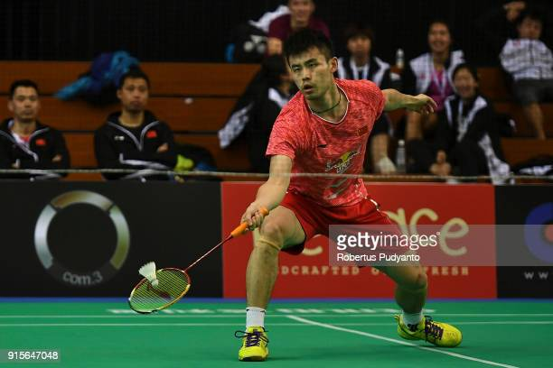 Qiao Bin of China competes against Wong Wing Ki Vincent of Hong Kong during the EPlus Badminton Asia Team Championships 2018 at Sultan Abdul Halim...