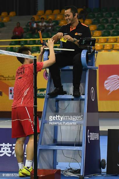 Qiao Bin of China is got yellow card as he throw his racket accross the court after beating Anthony Sinisuka Ginting of Indonesia during Men's Team...