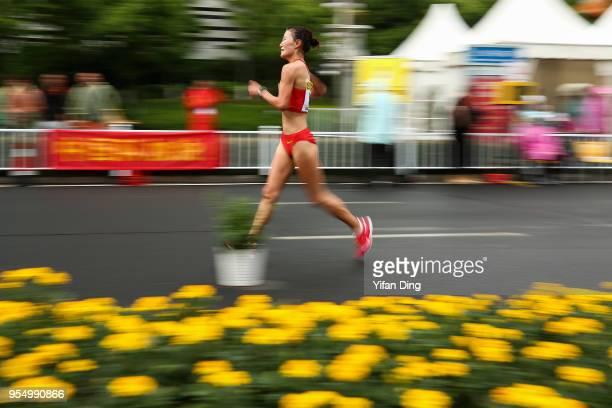 Qieyang Shijie of China in action during Women's 50 kilometres Race Walk of IAAF World Race Walking Team Championships Taicang 2018 on May 5 2018 in...